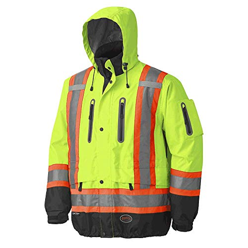 Pioneer V1130160-L Premium High Visibility Safety Jacket-Waterproof, Green, Large