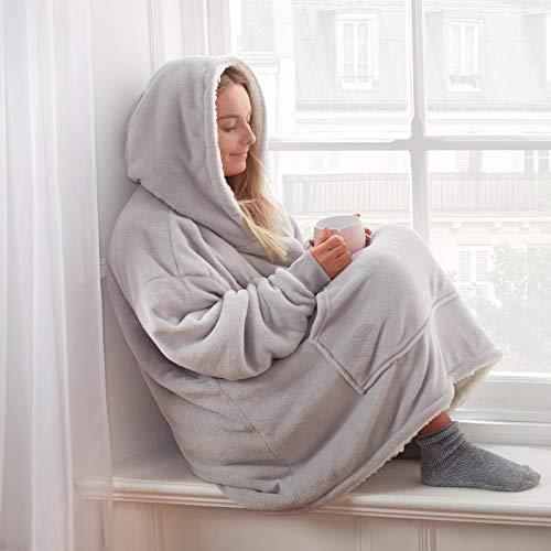Sienna Hoodie Blanket Ultra Soft Sherpa Fleece Warm Cosy Comfy Oversized Wearable Hooded Sweatshirt Throw for Women Girls Adults Men Boys Kids Big Pocket-Silver Grey, One Size Fits