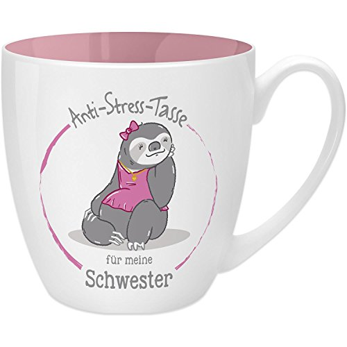 Gruss & Co 45507 Anti-Stress Tasse für die Schwester, 45 cl, Geschenk, New Bone China, Rosa, 9.5 cm