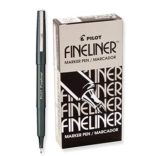 Pilot Fineliner Markers-Fineliner Marker, Airtight Cap, Fine Point, Black Ink 12 pens