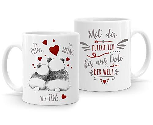 Moonworks - Taza de café, diseño de panda con texto en alemán 'Ich Deins Du Meins Wir eins Wir eins Liebes-Geschenk Valentinstag Liebesbeweis, Al final del mundo. Blanco., Keramik-Tasse