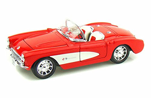 Welly 1957 Chevy Corvette Convertible, Red 29393 - 1/24 Scale Diecast Model Toy Car