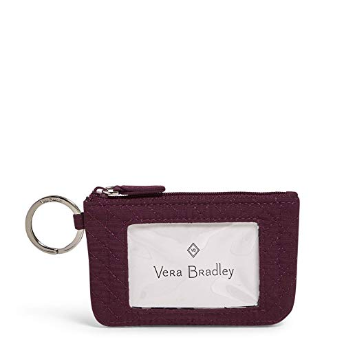 Vera Bradley Women's Microfiber Zip ID Case Wallet Keychains, Mulled Wine, One Size