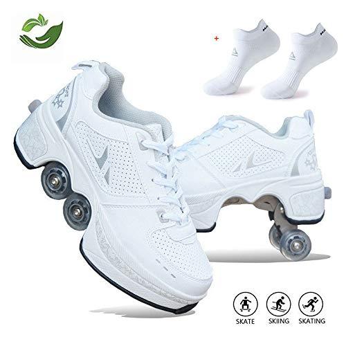 Unisexe Skates Deformation Schuhe,Inline-Skate, 2-in-1-Mehrzweckschuhe, Verstellbare Quad-Rollschuh-Stiefel,B-32