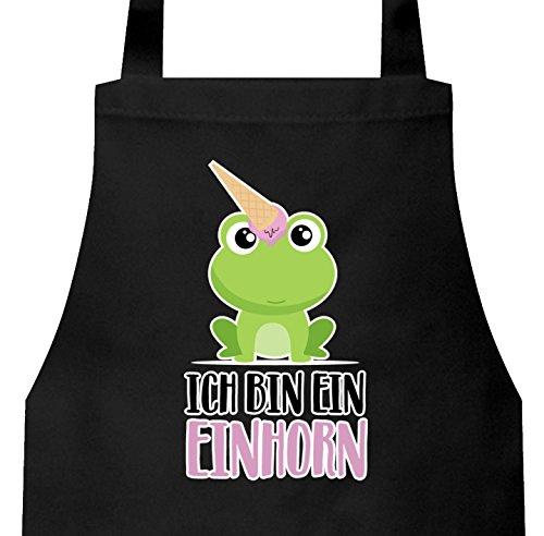 ShirtStreet süße Geschenkidee Unicorn Eis Ice Cream Frauen Herren Barbecue Baumwoll Grillschürze Kochschürze Frosch - Ich bin ein Einhorn, Größe: onesize,Schwarz