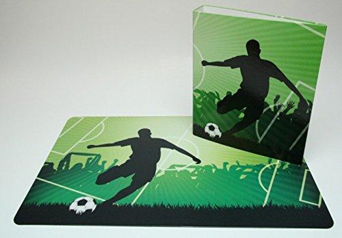 Schreibtischunterlage 40 x 60 cm Fußball/Fußballspieler mit passendem Ordner DIN A4