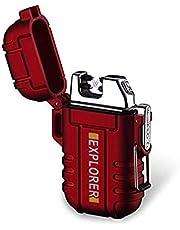 BOLLAER Encendedor Recargable para Exteriores, Innovador Encendedor de Plasma sin Llama, sin Llama, Resistente al Viento, para Camping, Senderismo, Aventura, Supervivencia al Aire Libre, (Rojo)