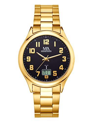 Meister Anker Herren Funkuhr – Armbanduhr mit Analog- und Digital-Anzeige, Metall-Uhr mit Edelstahl-Gliederarmband, in Gold
