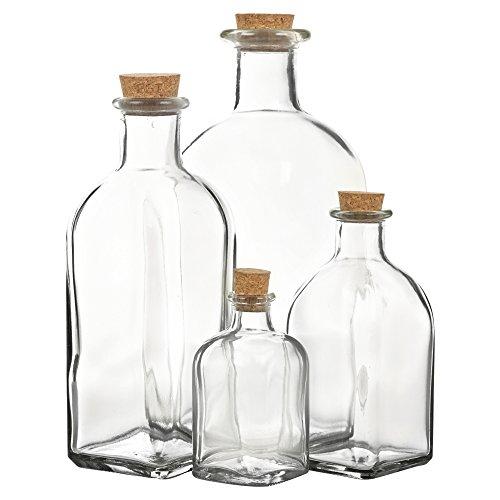 Botellas de Cristal con tapón de Corcho para Almacenamiento, Juego de 3 o 6...