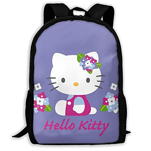 Hello Kitty con flores Bolsas escolares Senderismo Mochila escolar Mochila Mujeres Hombres