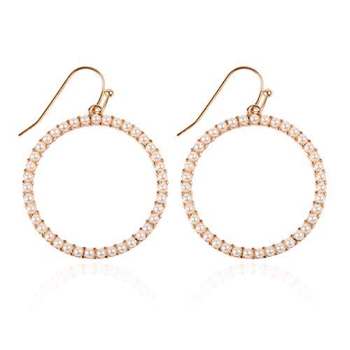 RIAH FASHION Sparkly Rhinestone Lightweight Geometric Hoop Drop Earrings - Teardrop, Pear,...