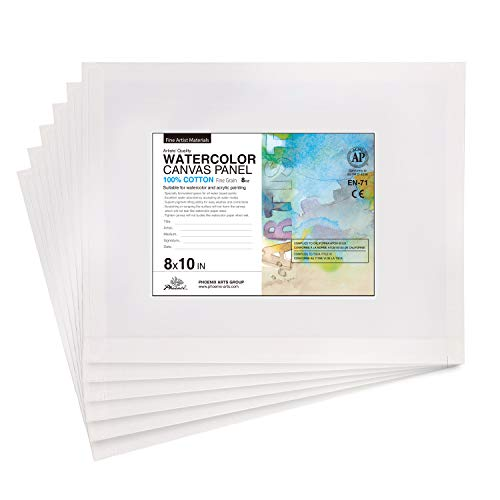 PHOENIX Watercolor Painting Canvas Panels - 8x10 Inch/6 Pack - Triple Primed Cotton Canvas Boards for Watercolor Painting
