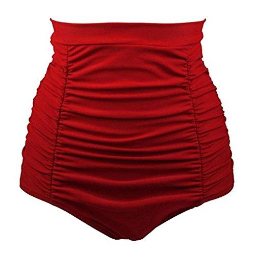 Bikini-Sets,Honestyi Basic Einfache Einfarbig Serie Damen/Mädchen Bikini Baden Strand Bademode Vintage 50s Hohe Taille StämmeShorts Hosen Badeshorts Unterwäsche große größenS-XXXL (XL, Rot)