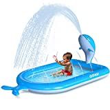 "QPAU 3-in-1 Inflatable Sprinkler Pool, 2021 New Whale Design Splash Pad Kiddie Pool for Kids Toddler, Outdoor Water Toys for Babies Boys Girls, 65""x 40""(Blue Whale)"