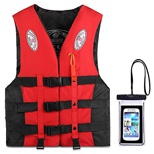 Reedark Life Jacket, Smartphone Waterproof Case + Floating Vest Set, w/ Whistle, Life Vest, for Kids & Adults, Unisex, for River Activities, Fishing, Boating, Ocean Swimming, As Buoyant as Japan MLIT-Certified Equipment, 3 Colors & 6 Sizes