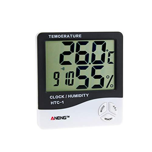 fengzong HTC-1 Indoor LCD Elektronisches Digitales Temperatur-Feuchtigkeitsmessgerät Raumthermometer Hygrometer Wecker Wetterstation (Schwarz)
