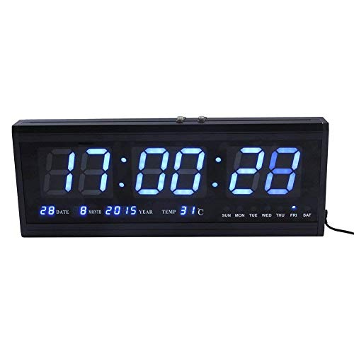 Reloj digital ZJchao, grande, con luz LED, para pared o escritorio, indica la temperatura y tiene calendario, metal, azul, 48 cm l x 5 cm w x 18.5 cm h