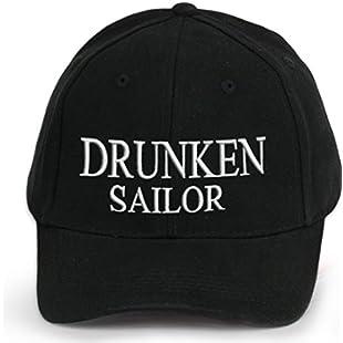 4sold Ancient Mariner, Captain Cabin Boy Crew First Mate Yachting Baseball Cap Inscription Lettering Black White (Drunken Sailor)