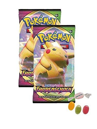 Pokemon Schwert & Schild - Farbenschock - 2 Booster - Deutsch zusätzlich 1 x Sticker-und-co Fruchtmix Bonbon