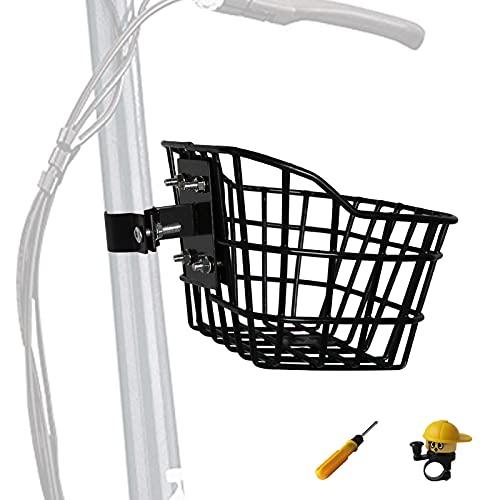 Cesta de bicicleta para niños con un soporte fijo, cesta de triciclo pequeño para niños y niñas (negro)