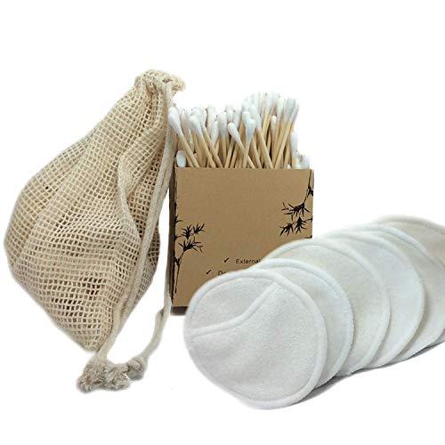 Coton Tige Bambou Biodégradable, Nettoyeur Oreille [Boite de 100 pcs ] + Coton Démaquillant Lavable Bio [Pack de 6] + Sac Lavage Rangement Hygiène Cosmétique Écologique OFFERT [Zéro Déchet]
