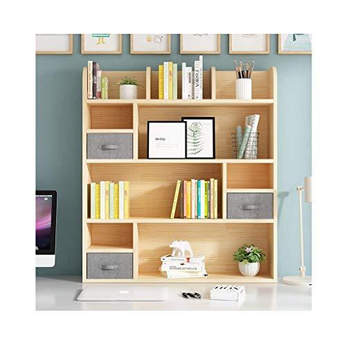 Estantería de escritorio simple de madera con cajones Estantería de encimera independiente Organizador de escritorio de madera Estante de almacenamiento Estante de exhibición Decoración (Color: Con p