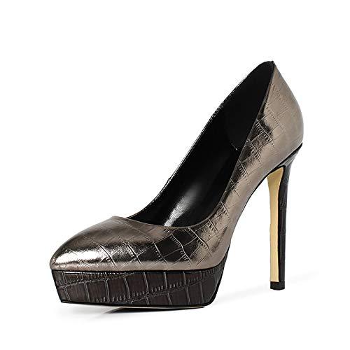 RHSMY Tacones altos para mujer, 4.7 pulgadas, puntiagudos, sexy, zapatos altos Asakuchi, suela de tendón, plataforma impermeable de 1.25 pulgadas (deslizable) (39 UE, color pistola)