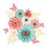 Houpoo 3D NO-DIY Papel Flores Decoraciones (Juego de 11) Gran Tejido de Boda Flores Artificiales Centros de Mesa Telón de Fondo de Cumpleaños Decoración de Pared de Guardería Photobooth