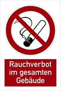 1186. Kombischild: Rauchverbot im gesamten Gebäude - Kunststoff KOMBI SYMBOL P01