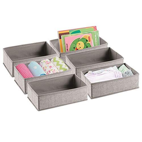 mDesign Juego de 6 cestas para bebés de polipropileno – Cesta organizadora...