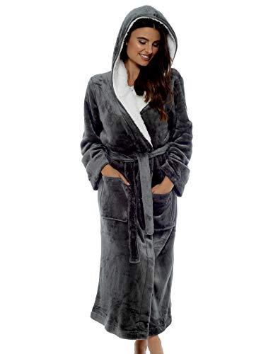 Robe de chambre de luxe Doux Peignoir en peluche Housecoat Waterfall Lounge Style peignoir (XL, Gris Anthracite)