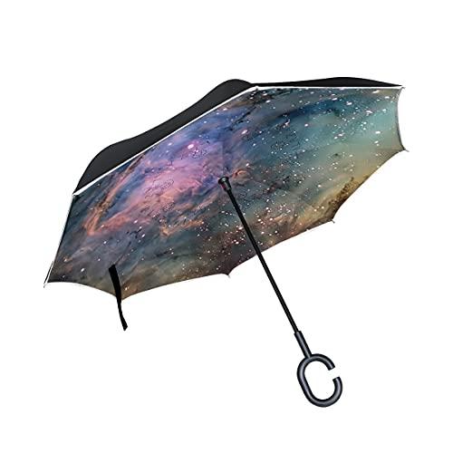 hengpai Space Trip invertido dentro hacia fuera paraguas coche unigue a prueba de viento UV doble capa para mujeres