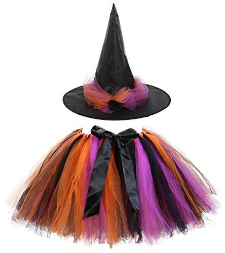 Kiniris Kostüm Halloween Hexe Tutu Kind Mädchen/Damen Rock Tüll Bunte Fliege Kostüm Mit Kapuze Schwarz Cosplay (Schwarz, Erwachsener)