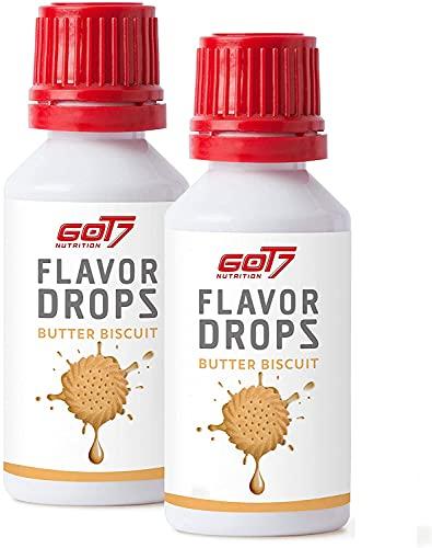 GOT7 FLAVOR DROPS - Saborizante sin calorías para alimentos y bebidas - Perfecto para perder peso - 2x 30 ml (Butter Biscuit-Galleta de mantequilla)