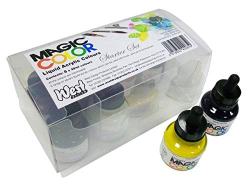 Magic Color - Frascos de pintura acrílica líquida para principiantes (8 unidades, 28 ml)