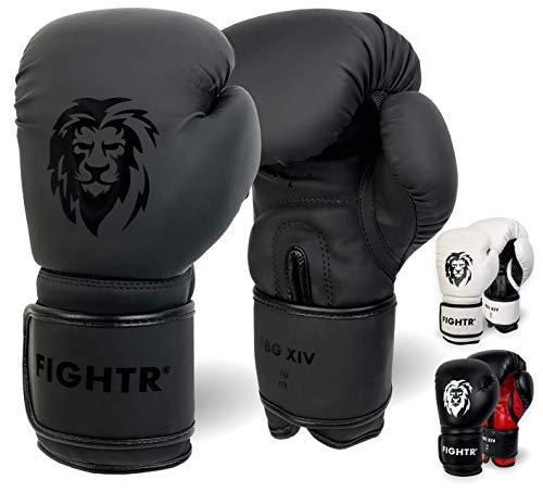 FIGHTR Guantes de Boxeo, Ideales para Estabilidad y Fuerza de Impacto, Guantes para Boxeo, MMA, Muay Thai, Kickboxing y Artes Marciales, Incluye Bolsa de Transporte (All Black, 14 oz)