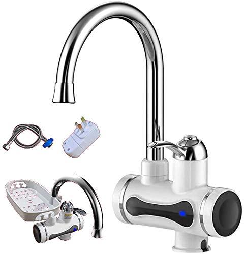 Elektrische warmwaterkraan, waterkraan, waterkraan, waterkraan, waterkraan, waterkraan, waterkraan, warm-koud-waterkraan, met digitaal LED-display, geschikt voor keuken, badkamer, toilet onderkast B