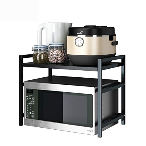 Estante Horno Microondas para Cocina con 3 Ganchos, Rejilla para Horno Microondas Extensible de Metal ,Mueble Encimera Cocina, Estanterias para Especias,Carga 50 kg/110lbs, Negro ( Color : Black )