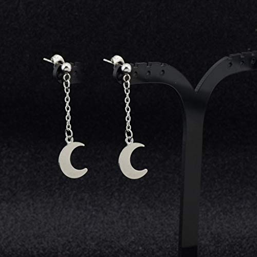 ZZALLL KPOP DNA Korean Boys Earrings Stainless Steel Moon Long Tassel Drop Earrings
