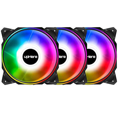 upHere 120mm LED RGB mit Fernbedienung Steuerung Silent Lüfter für Gehäuselüfter PC, 120mm Dual Licht Loop RGB LED, Einzelverpackung, 3-Pack,DP1206-3