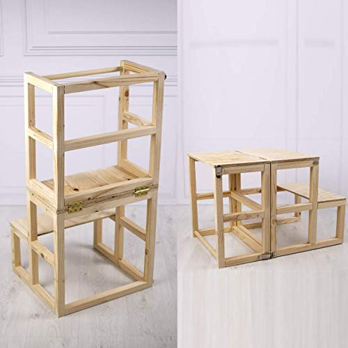 Torre de Aprendizaje Montessori convertible en mesa de madera natural hecha a mano en España