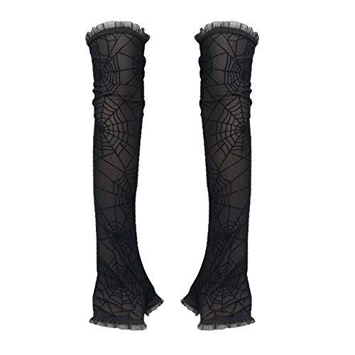 harayaa Guantes Largos sin Dedos de Encaje gótico para Mujer, Guantes de Disfraces de Halloween-patrón de Tela de araña, 40cm - con Lentejuelas