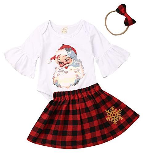 Traje Navidad de Bebé Niña 3 Piezas Conjunto para Recién Nacido de Mameluco de Manga Volante con Estampado de Papá Noel Falda Rojo a Cuadros Diadema Ropa Invierno de Algodón para Bebés (0-18 Meses)