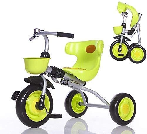 WLD kinderfiets, kinderen 'S driewieler klapkinderwagen kinder' S driewieler fiets soft seat met bel beste keuze voor verjaardagscadeau voor jongens en meisjes groen