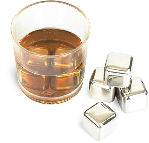Whiskysteine 6 Stk. mit Tragebeutel - Silbern 3 x 3 x 3 cm - Edelstahl Kühlsteine für Party und Hausbar - Grinscard