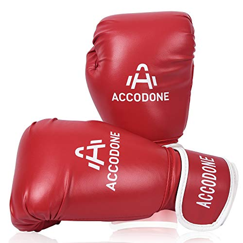 ACCODONE Boxing Gloves for Men and Women, Synthetic Leather Kickboxing Gloves for Sparring, Muay Thai and Heavy Bag, Suitable for Home Fitness and Fight Training (Red)