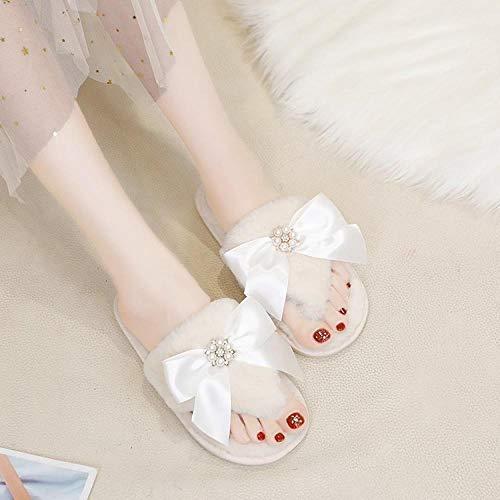 SWX-FlipFlop Zapatos de algodón de Diamantes de imitación otoño e Invierno de algodón de Color sólido Zapatillas de Arco de Remolque Zapatos de algodón de Diamantes de imitación Zapatos Beige 40/41