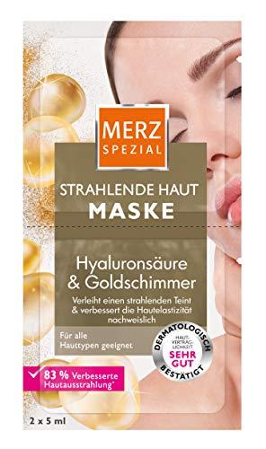 Merz Spezial Strahlende Haut Maske – Gesichtsmaske mit Goldschimmer, Panthenol, Vitamin E & Hyaluronsäure – Für einen strahlend-frischen Teint – 2 x 5 ml