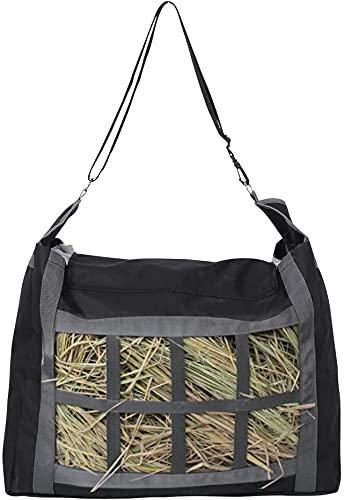 Namvo Bolsa de heno, correa ajustable y gran capacidad 600D Oxford tela para la alimentación de caballos, bolsa de heno de alimentación lenta bolsa de heno con cuadrados pequeños color negro
