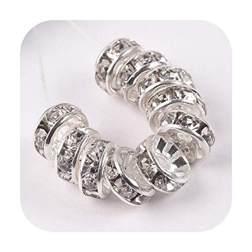 who-care Rondelle - Cuentas espaciadoras sueltas de metal de 4 mm, 5 mm, 6 mm, 8 mm, 10 mm, 12 mm, 50 unidades